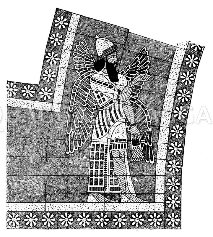 Torumrahmung aus bemalten Ziegeln. Khorsabad Zeichnung/Illustration