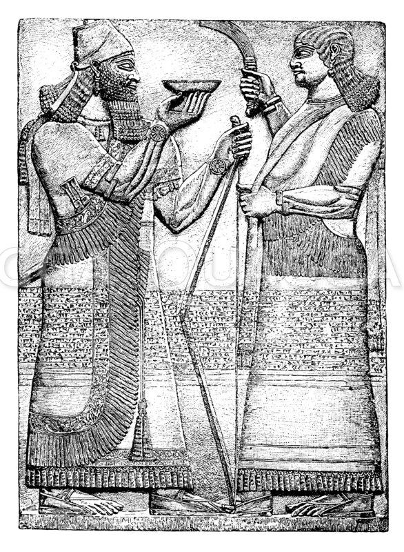 Trankopfer des Königs Assurnassirpal. Nimrud Zeichnung/Illustration