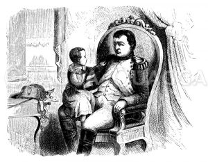 Napoleon Bonaparte und sein Sohn Napoleon Franz Bonaparte Zeichnung/Illustration
