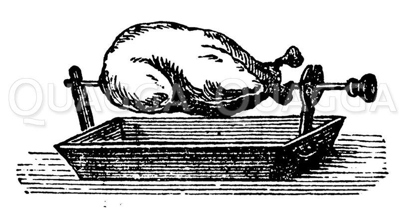 Geflügel-Spießbraten Zeichnung/Illustration