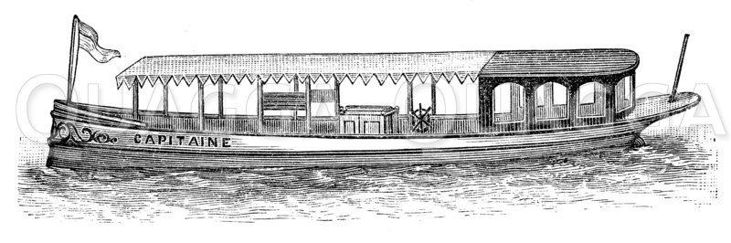 Petroleummotorboot Zeichnung/Illustration