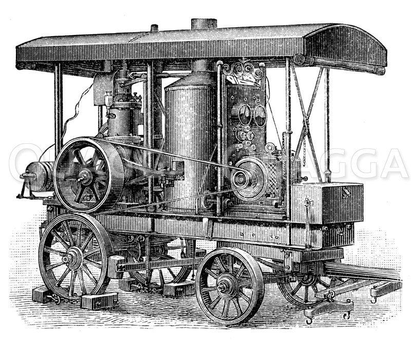 Elektrischer Beleuchtungswagen Zeichnung/Illustration