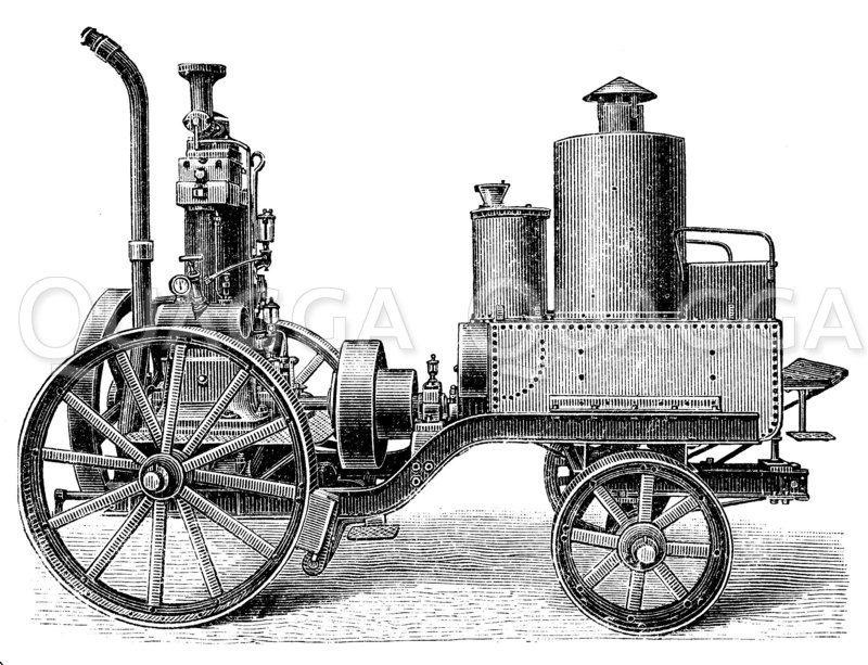 Petroleumlokomobile Zeichnung/Illustration