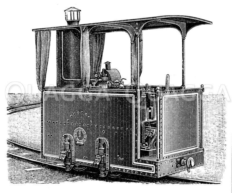 Petroleumlokomotive Zeichnung/Illustration