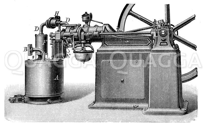 Ottos liegender Benzinmotor Zeichnung/Illustration