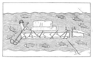 Schlauchfloß auf einem assyrischen Relief in Khorsabad Zeichnung/Illustration