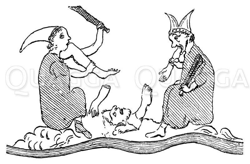 Kannibalen auf der Herefordkarte aus dem 13. Jahrhundert Zeichnung/Illustration
