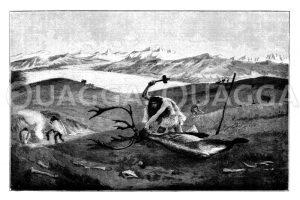 Rentierjagd in der Moränenlandschaft Oberschwabens in der letzten Eiszeit Zeichnung/Illustration