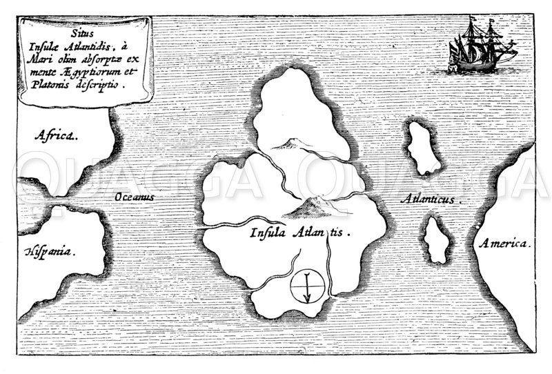 Atlantis auf einer Landkarte des 17. Jahrhunderts Zeichnung/Illustration