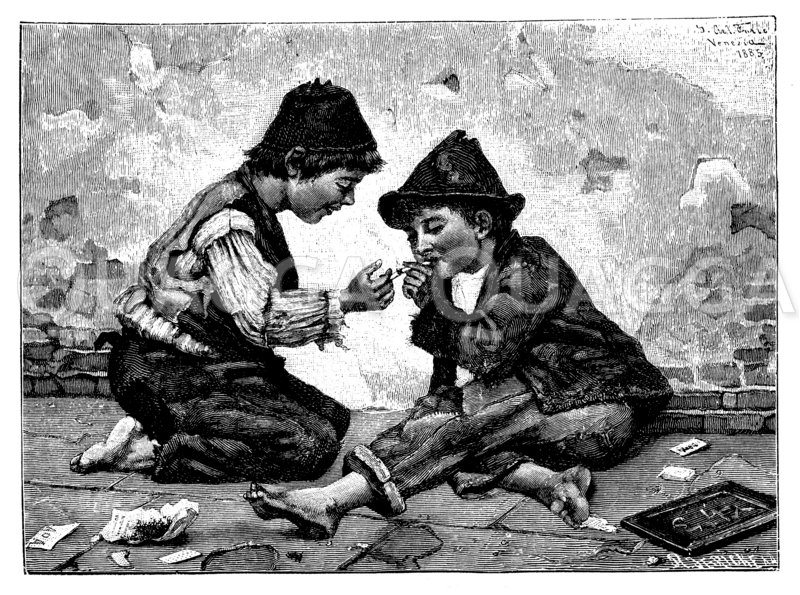 Zwei Jungen versuchen erstmals zu rauchen Zeichnung/Illustration