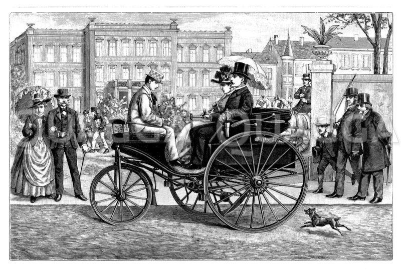 Patent-Motorwagen von Benz Zeichnung/Illustration