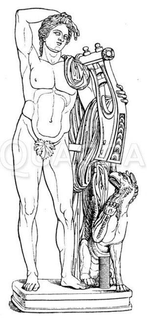 Apollon mit Leier und Greif Zeichnung/Illustration