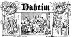 Titelvignette der Familienzeitschrift 'Daheim' Zeichnung/Illustration