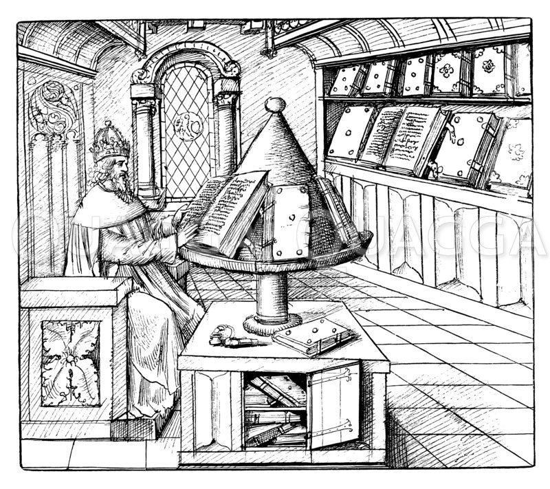 Bücherei und Schreibstube aus dem 15. Jahrhundert Zeichnung/Illustration