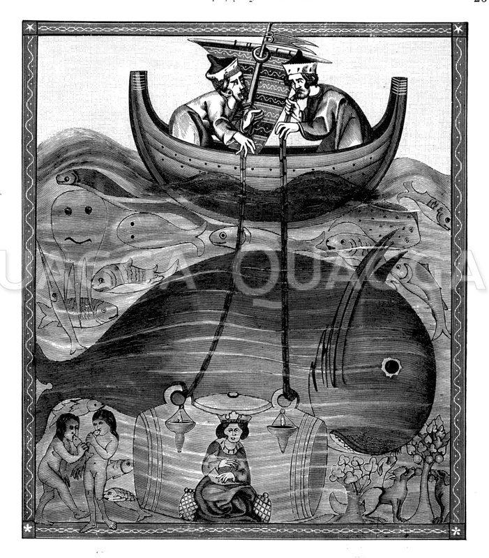 Die Tiefen des Meers nach der Vorstellung des Mittelalters Zeichnung/Illustration