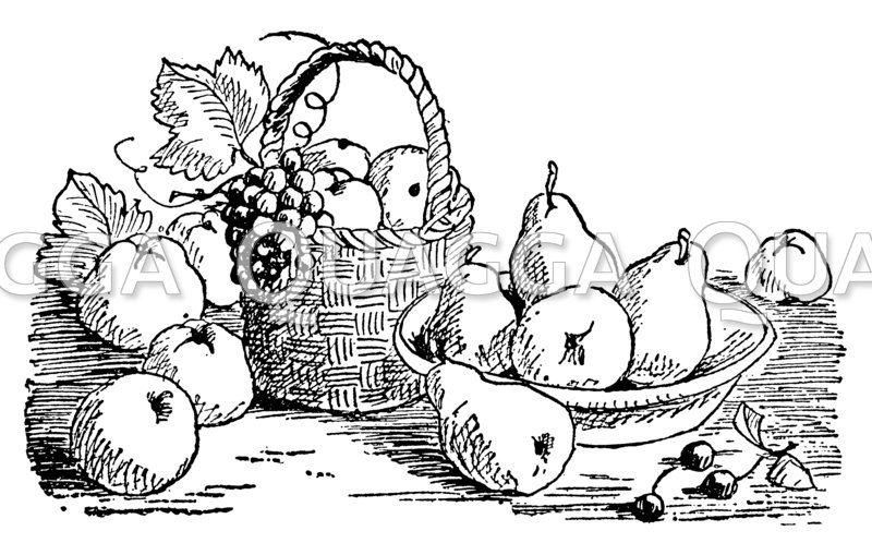 Obstschale und Obstkorb mit Birnen