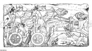Assyrische Krieger zu Wagen