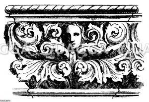 Kapitellaufsatzfries am Untergeschoss des Endpavillons an der Eingangshalle des Dogenpalastes zu Venedig (um 1460)