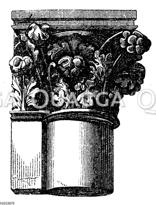 Blumenwerk. Kapitell aus Reimes. Französisch-gotische Bauweise