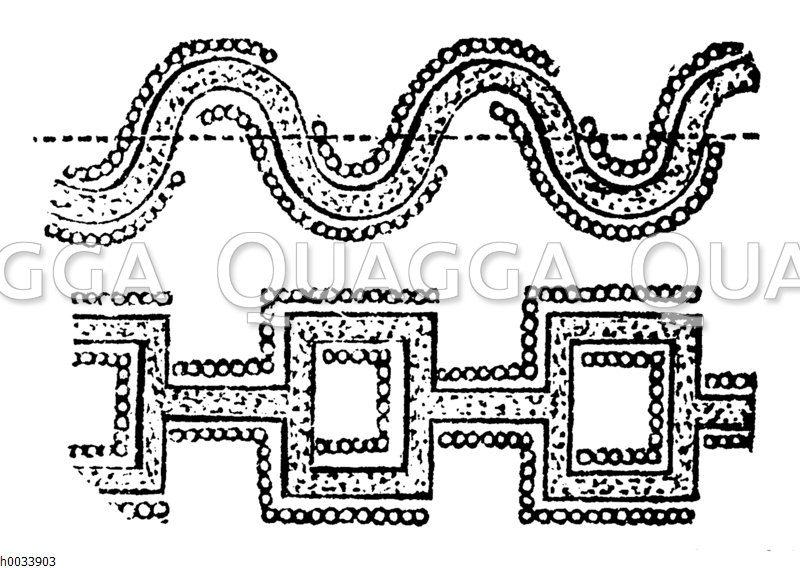 Festungsbau. Alte Sappen: Schlangenförmig (oben)