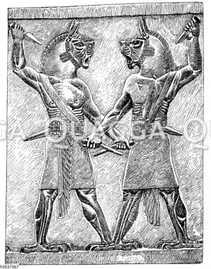 Dämonen. Relief von Kujundschick