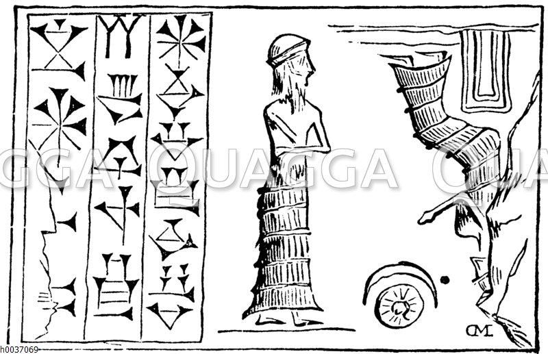 Zylinder mit Darstellung von Gestirnen