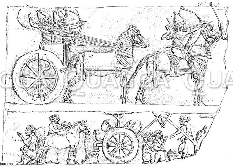 Assyrische Wagenkämpfer und Bogenschützen