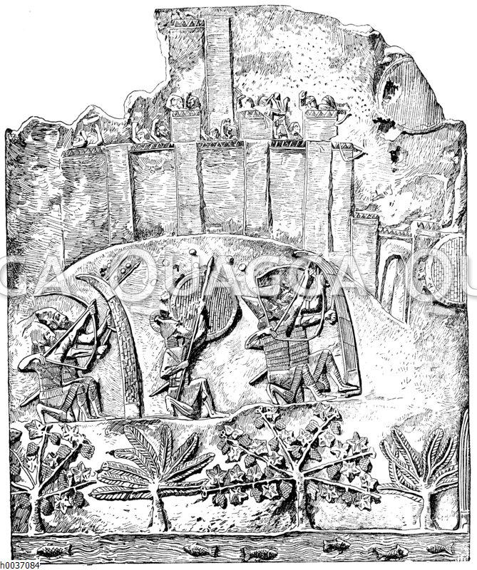 Belagerung einer Stadt durch die Assyrer