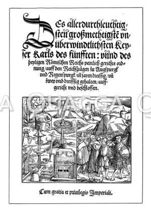 """Faksimile des Titels von Karls V. peinlicher Halsgerichtsordnung"""""""""""