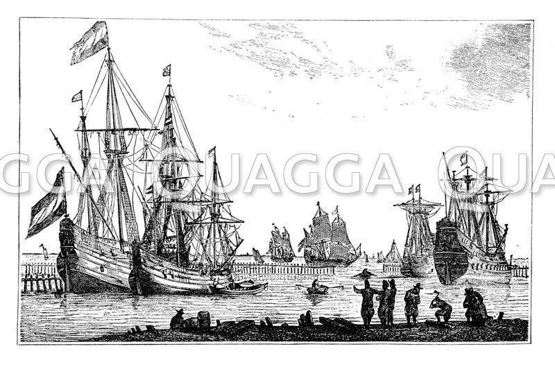 Kauffahrteischiffe aus der Zeit Ludwig XIV. Nach einem zeitgenössischen Kupferstich