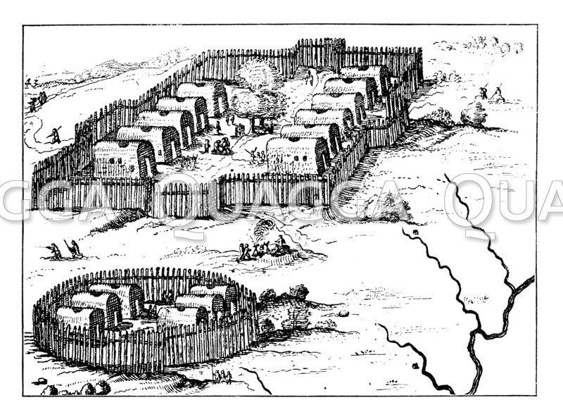 Nordamerikanisches Indianerdorf. Nach einer Karte aus dem 17. Jahrhundert