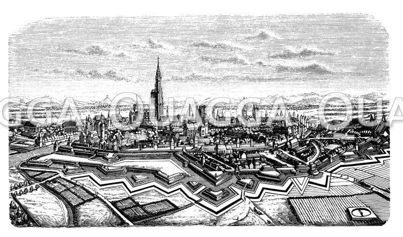 Straßburg im 17. Jahrhundert von der Nordseite. Nach Merian