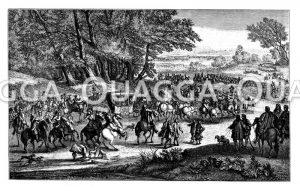 Der königliche Hof auf der Reise (Übersiedelung der Königin nach Fontainebleau)
