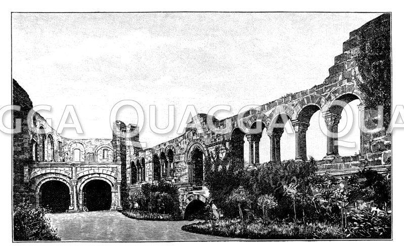 Ruinen der Kaiserpfalz in Gelnhausen: von Kaiser Friedrich I. Barbarossa 1170 vollendet.