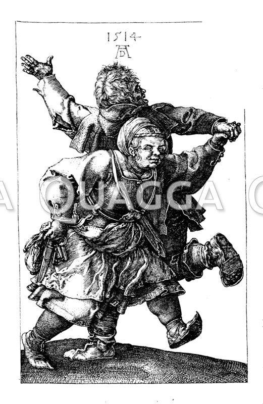 Tanzendes Bauernpaar. Nach einem Kupferstich von 1514 von Albrecht Dürer