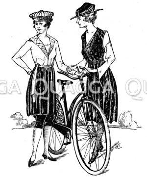 Radfahrerinnen in Reformkleidung