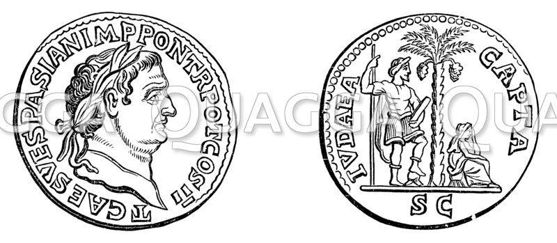 Kupfermünze Vespasians nach Jerusalems Fall