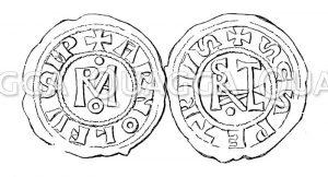 Monogramm Roma. Monogramm Stephanus. Kaisermünzen: Münze Arnulfs von Kärnten und Papst Stephans VI.