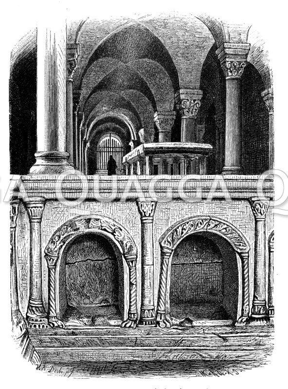 Grabstätte Heinrichs I. und Mathildens in der Krypta der Quedlinburger Schloßkirche