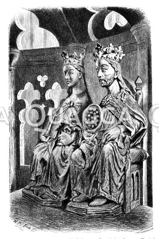 Statuen Ottos des Großen und der Editha in einer Kapelle des Doms zu Magdeburg
