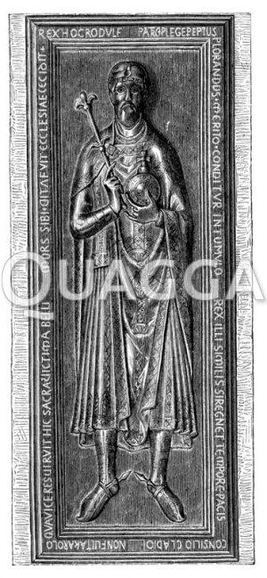 Die eherne Grabplatte Rudolfs von Schwaben im Dom zu Merseburg