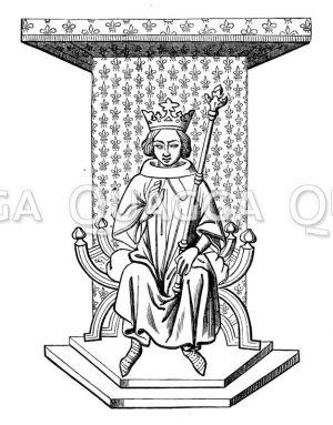 König Ludwig IX. von Frankreich auf dem Thron. Nach einer Miniatur des XIV. Jahrhunderts aus der Nationalbibliothek zu Paris