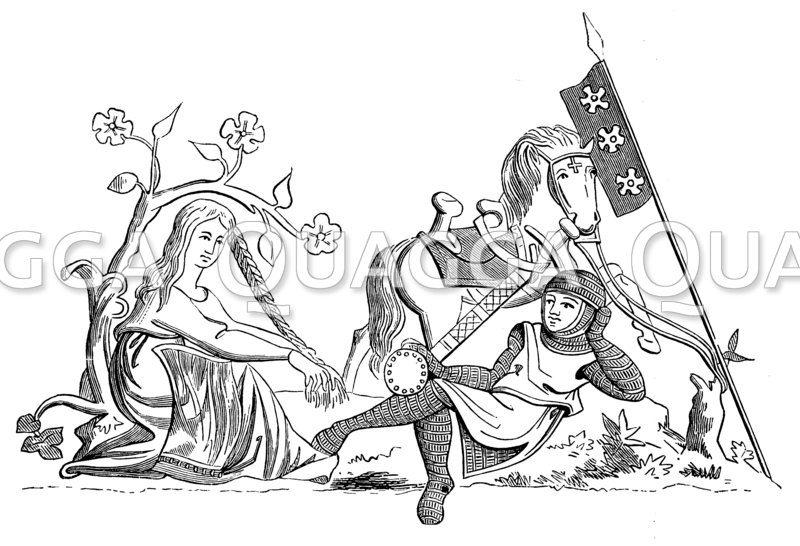 Frau im Schutz der Ritterlichkeit. Allegorische Miniatur aus dem Psalterium in der Nationalbibliothek zu Paris