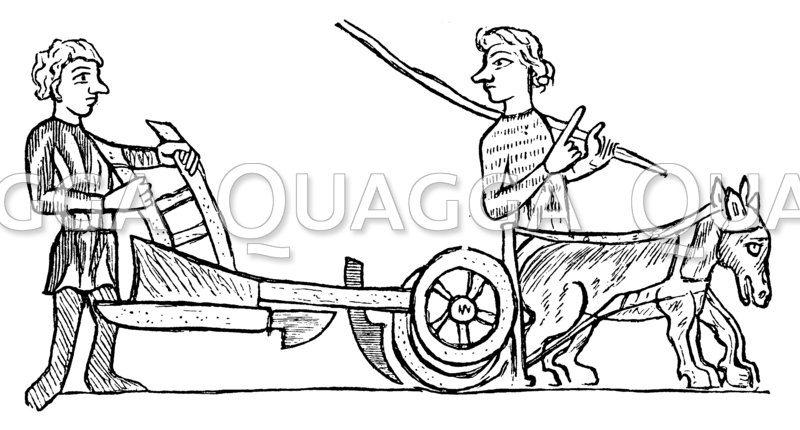 Bauern und Pflug des 13. Jahrhunderts