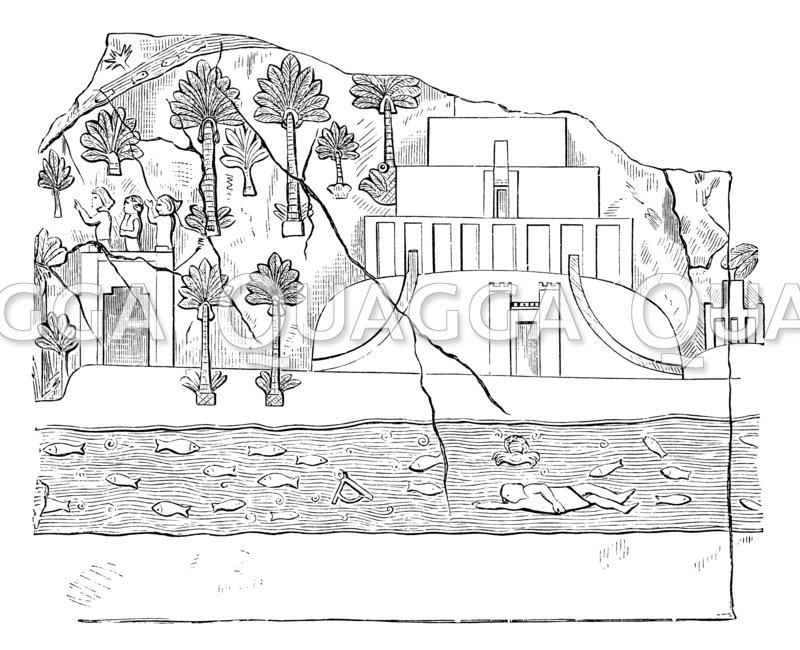 Stufenpalast mit Park auf einem Relief aus Kujundschik