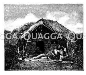 Maorikrieger auf dem Vorplatz seiner Hütte