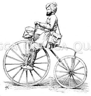 Postbote mit Velociped in Britisch-Indien