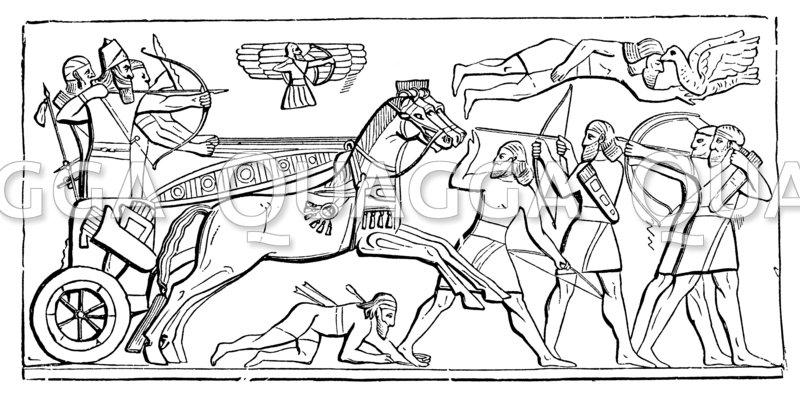 Assyrischer König im Kampfe.