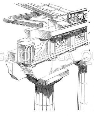 Gebälk und Deckenbildung am dorischen Tempel