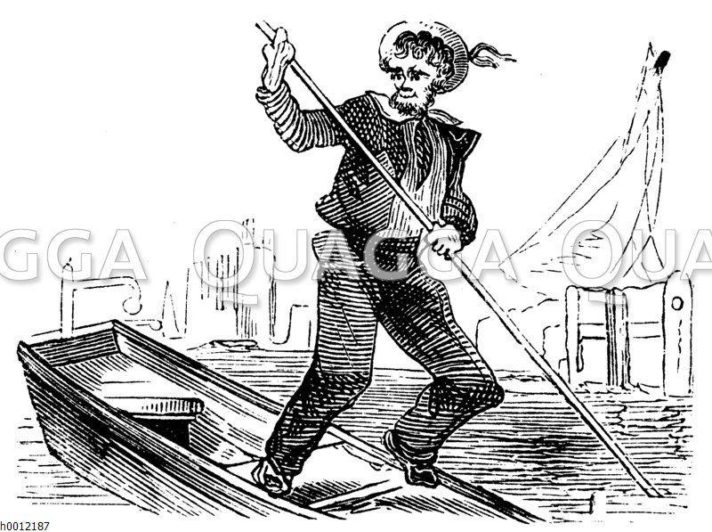 Fischer stakt ein kleines Boot